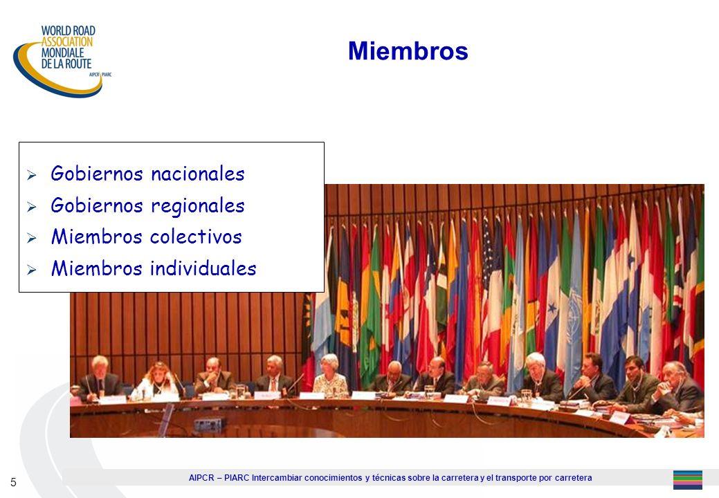 Miembros Gobiernos nacionales Gobiernos regionales Miembros colectivos