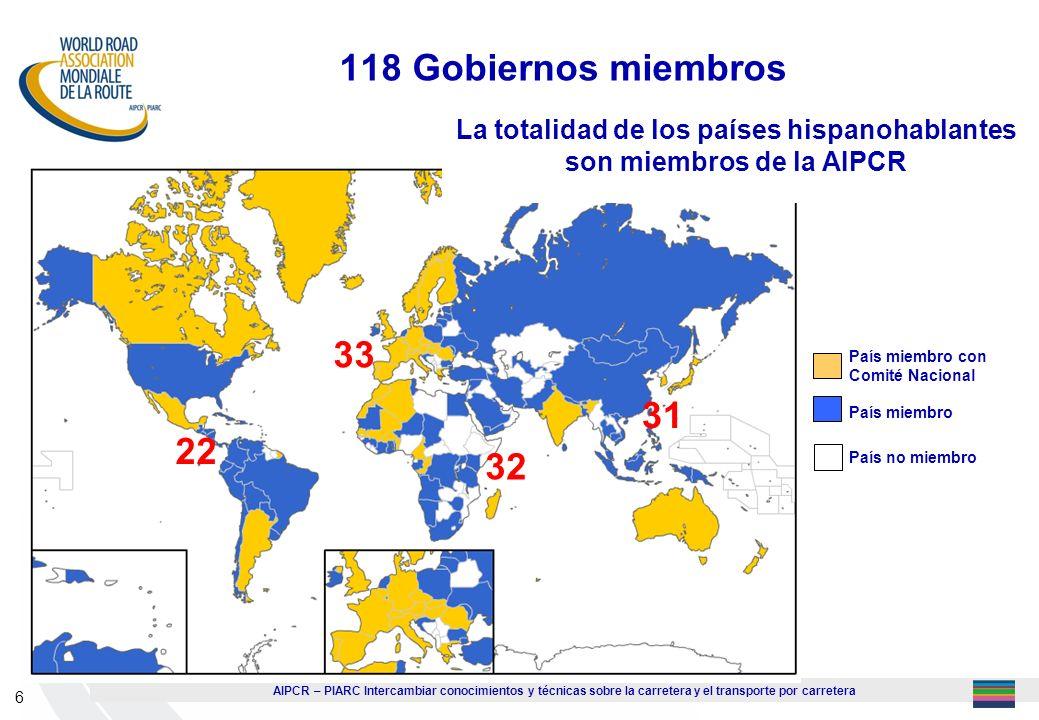 La totalidad de los países hispanohablantes son miembros de la AIPCR