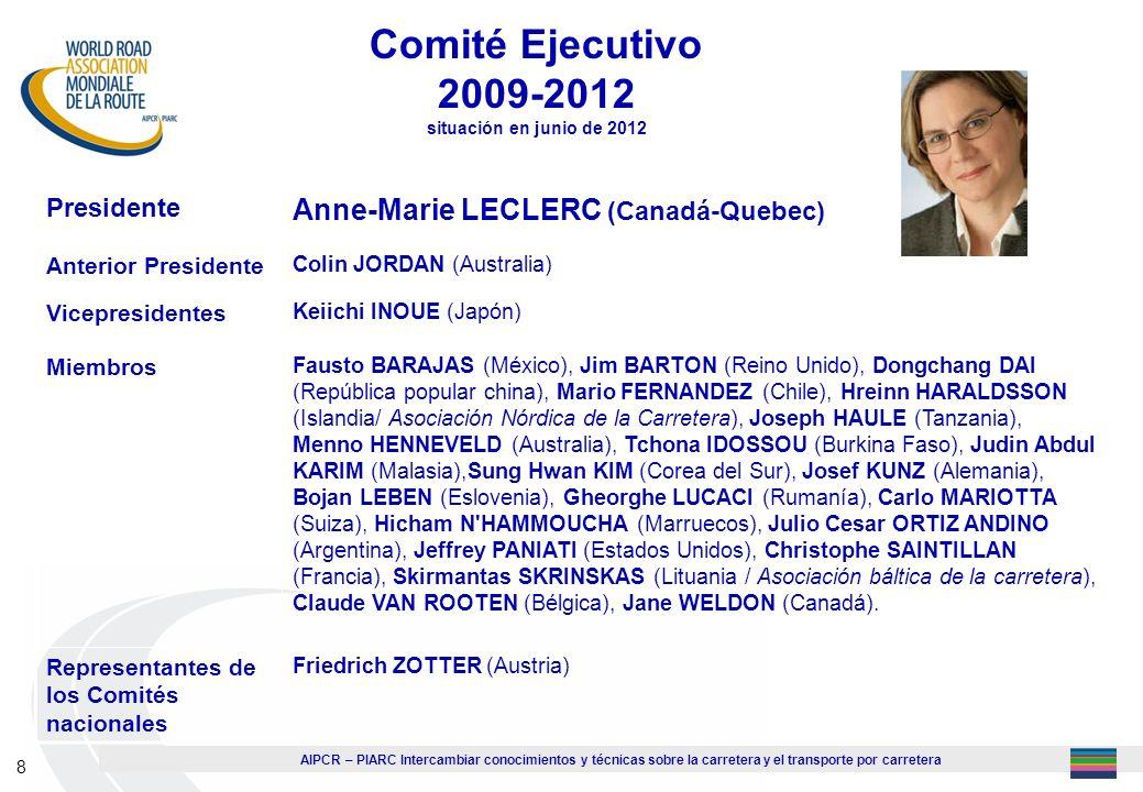 Comité Ejecutivo 2009-2012 situación en junio de 2012