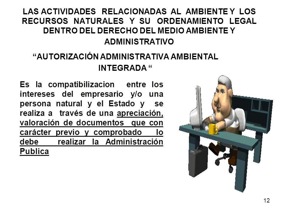 LAS ACTIVIDADES RELACIONADAS AL AMBIENTE Y LOS RECURSOS NATURALES Y SU ORDENAMIENTO LEGAL DENTRO DEL DERECHO DEL MEDIO AMBIENTE Y ADMINISTRATIVO