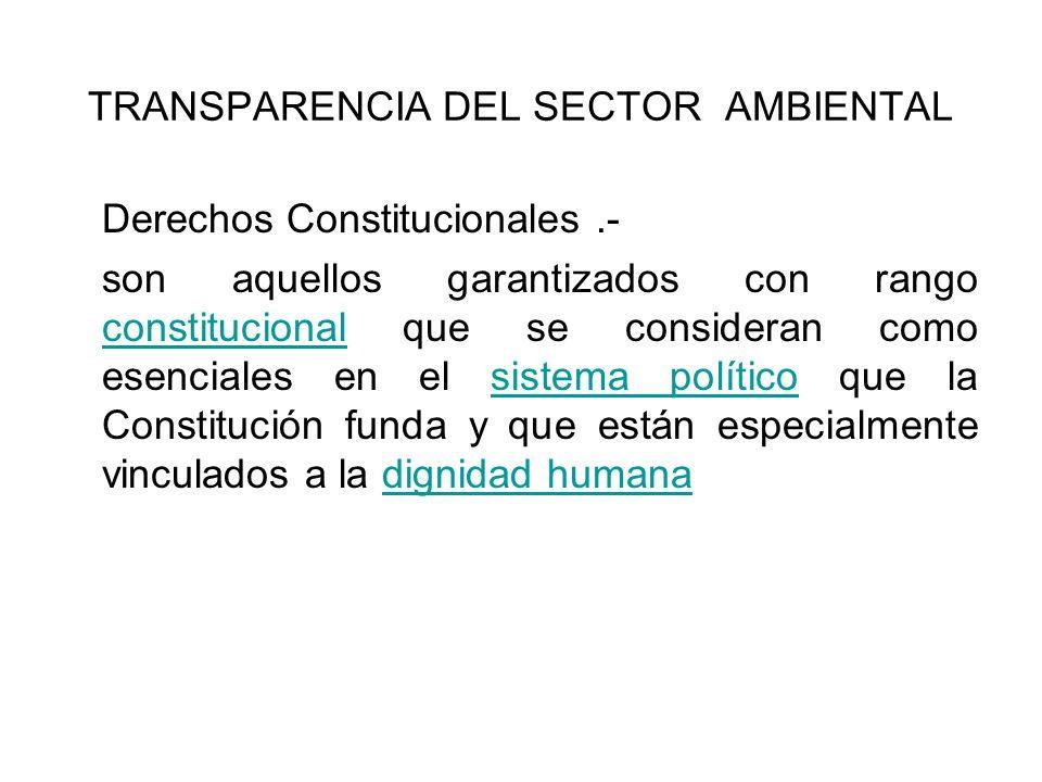 TRANSPARENCIA DEL SECTOR AMBIENTAL