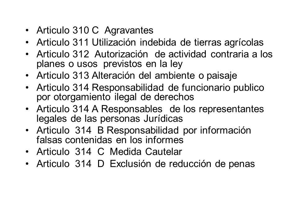 Articulo 310 C Agravantes Articulo 311 Utilización indebida de tierras agrícolas.