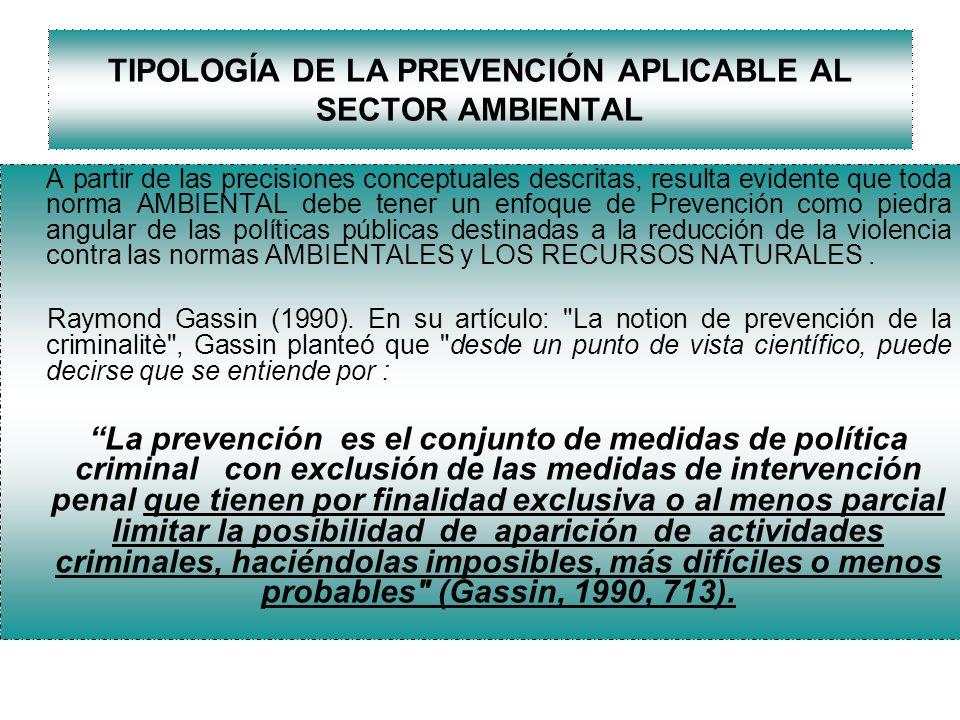 TIPOLOGÍA DE LA PREVENCIÓN APLICABLE AL SECTOR AMBIENTAL