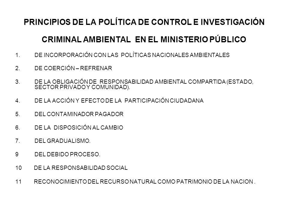 PRINCIPIOS DE LA POLÍTICA DE CONTROL E INVESTIGACIÓN CRIMINAL AMBIENTAL EN EL MINISTERIO PÚBLICO