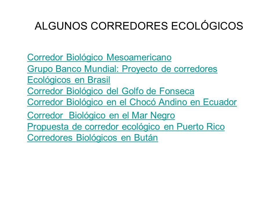 ALGUNOS CORREDORES ECOLÓGICOS