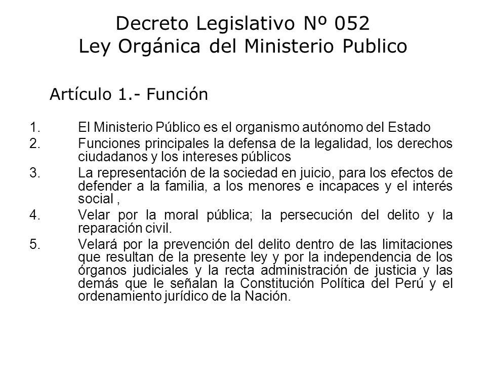 Decreto Legislativo Nº 052 Ley Orgánica del Ministerio Publico