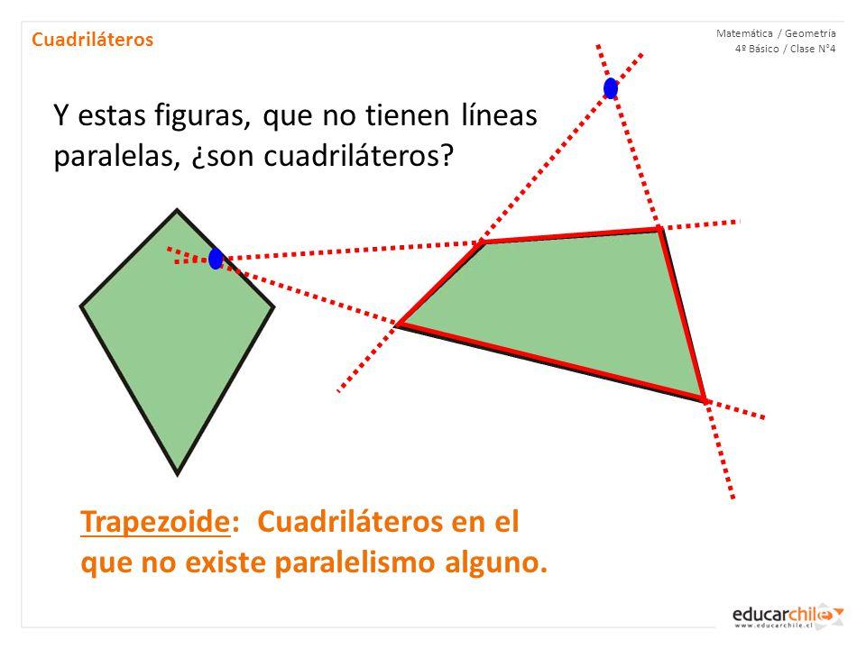 Y estas figuras, que no tienen líneas paralelas, ¿son cuadriláteros
