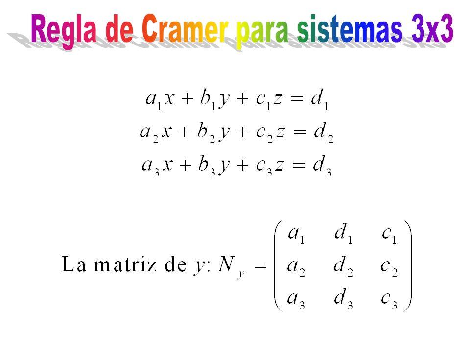 Regla de Cramer para sistemas 3x3