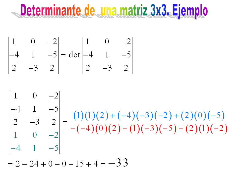 Determinante de una matriz 3x3. Ejemplo