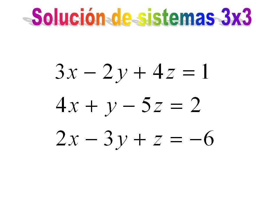 Solución de sistemas 3x3