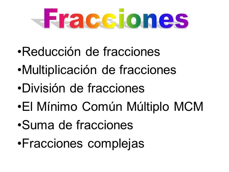 Reducción de fracciones Multiplicación de fracciones