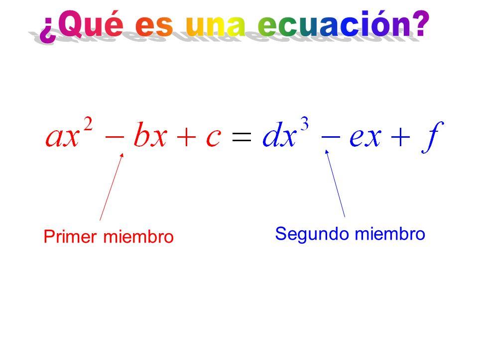 ¿Qué es una ecuación Segundo miembro Primer miembro