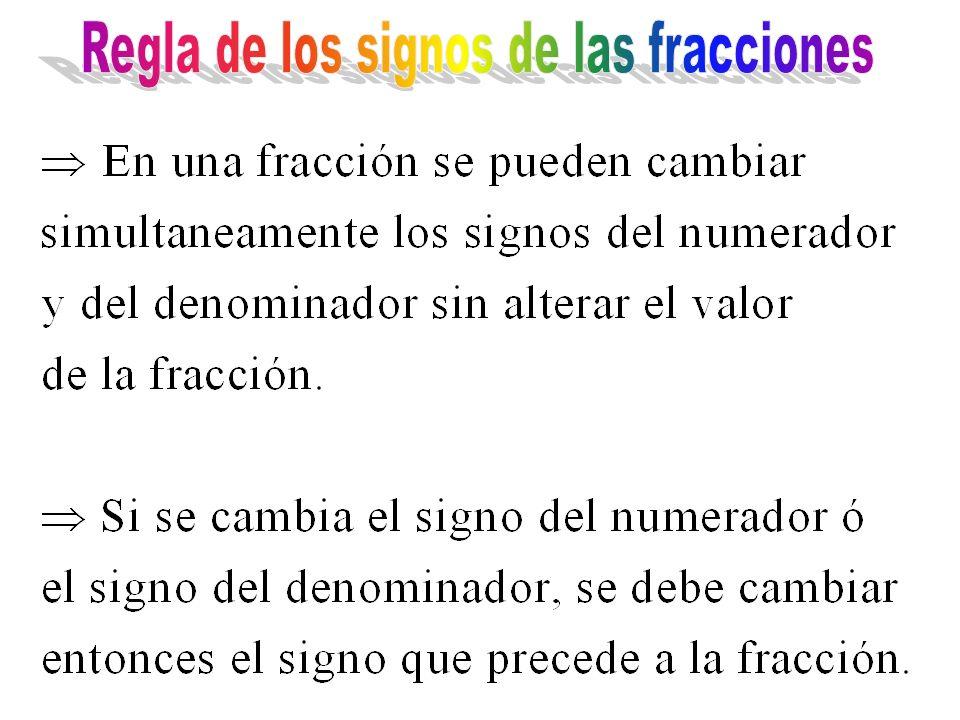 Regla de los signos de las fracciones