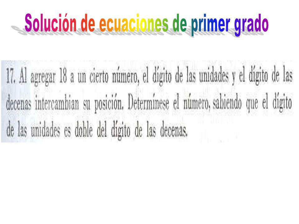 Solución de ecuaciones de primer grado