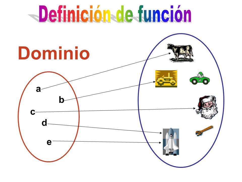 Definición de función Dominio a b c d e