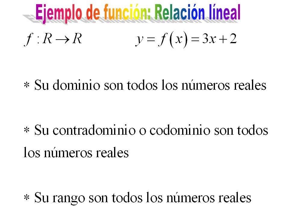 Ejemplo de función: Relación líneal