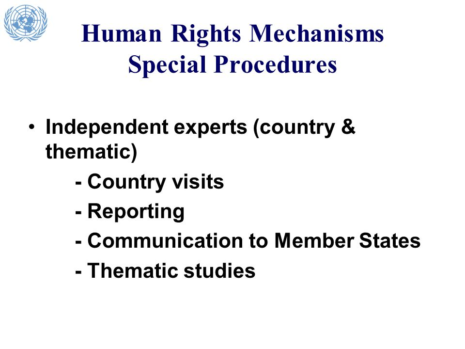 Human Rights Mechanisms Special Procedures