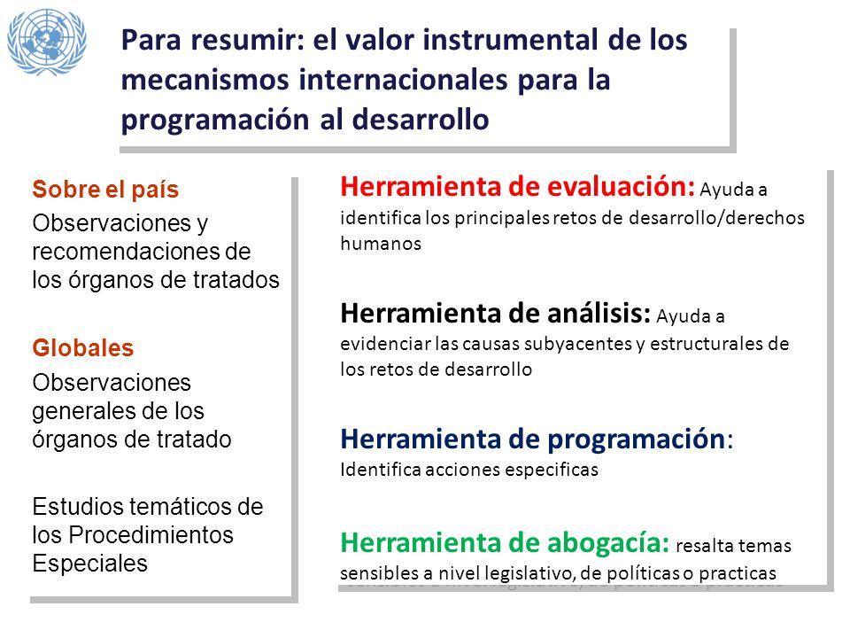 Para resumir: el valor instrumental de los mecanismos internacionales para la programación al desarrollo