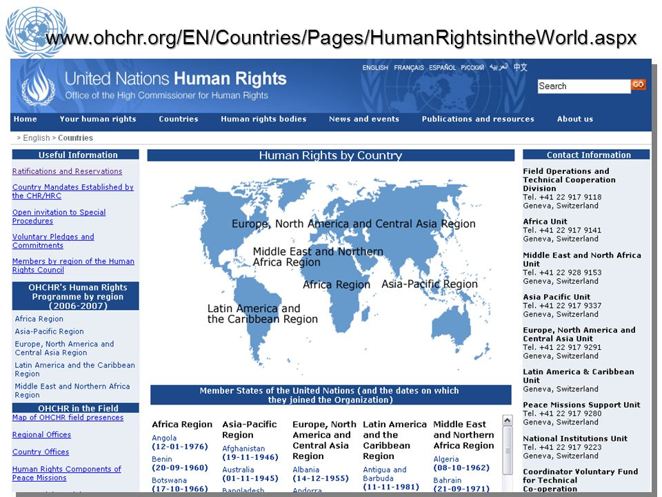www.ohchr.org/EN/Countries/Pages/HumanRightsintheWorld.aspx 15