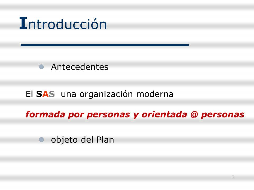 Introducción Antecedentes El SAS una organización moderna