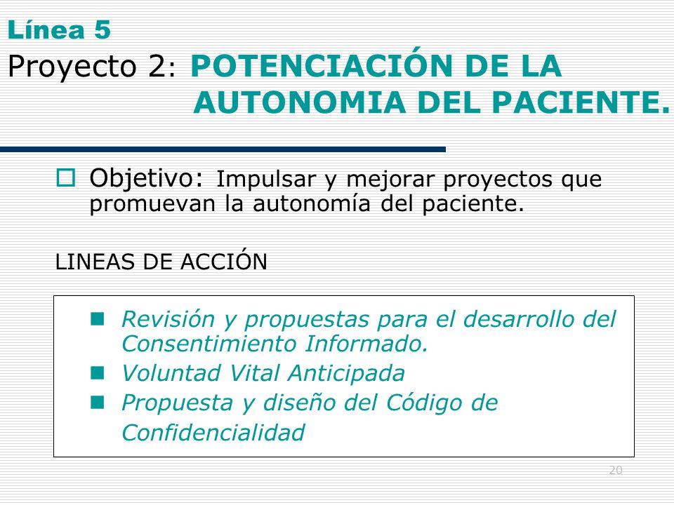Línea 5 Proyecto 2: POTENCIACIÓN DE LA AUTONOMIA DEL PACIENTE.