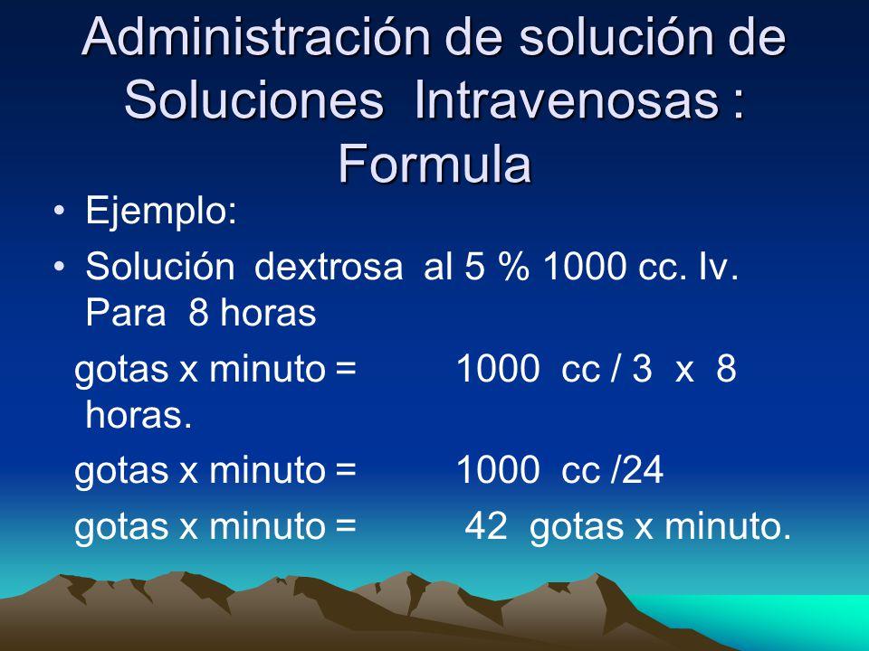 Administración de solución de Soluciones Intravenosas : Formula