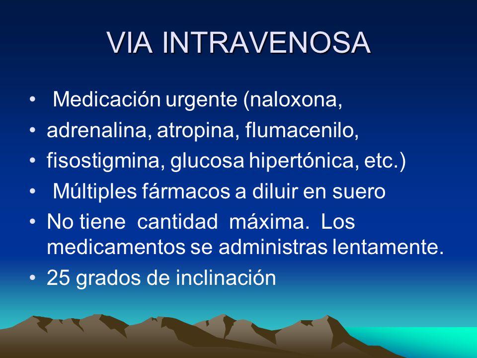 VIA INTRAVENOSA Medicación urgente (naloxona,