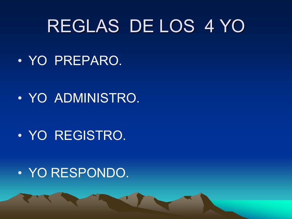 REGLAS DE LOS 4 YO YO PREPARO. YO ADMINISTRO. YO REGISTRO.