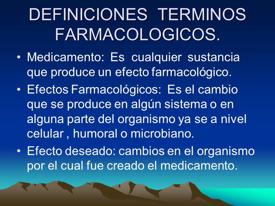 DEFINICIONES TERMINOS FARMACOLOGICOS.
