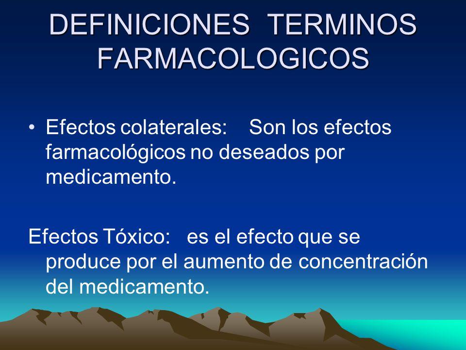 DEFINICIONES TERMINOS FARMACOLOGICOS
