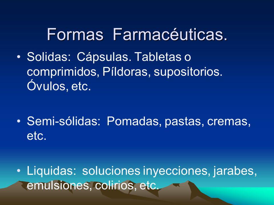 Formas Farmacéuticas. Solidas: Cápsulas. Tabletas o comprimidos, Píldoras, supositorios. Óvulos, etc.