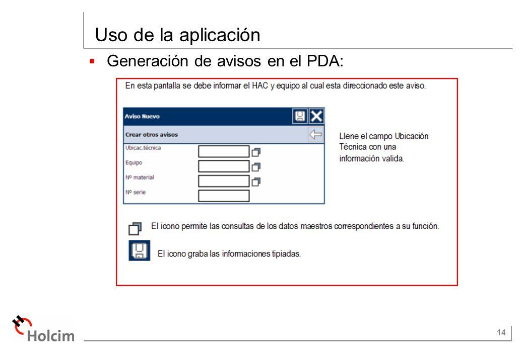 Uso de la aplicación Generación de avisos en el PDA: