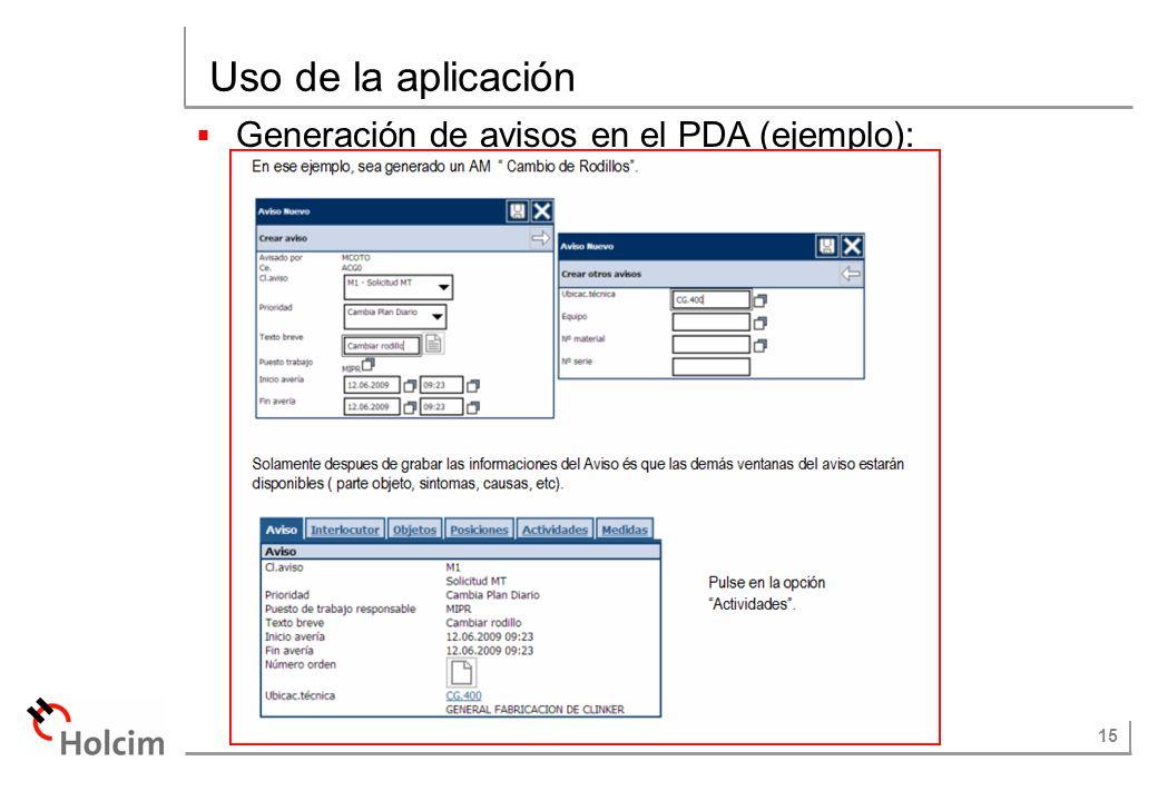 Uso de la aplicación Generación de avisos en el PDA (ejemplo):