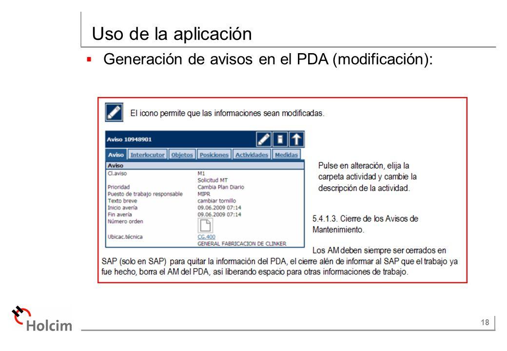 Uso de la aplicación Generación de avisos en el PDA (modificación):