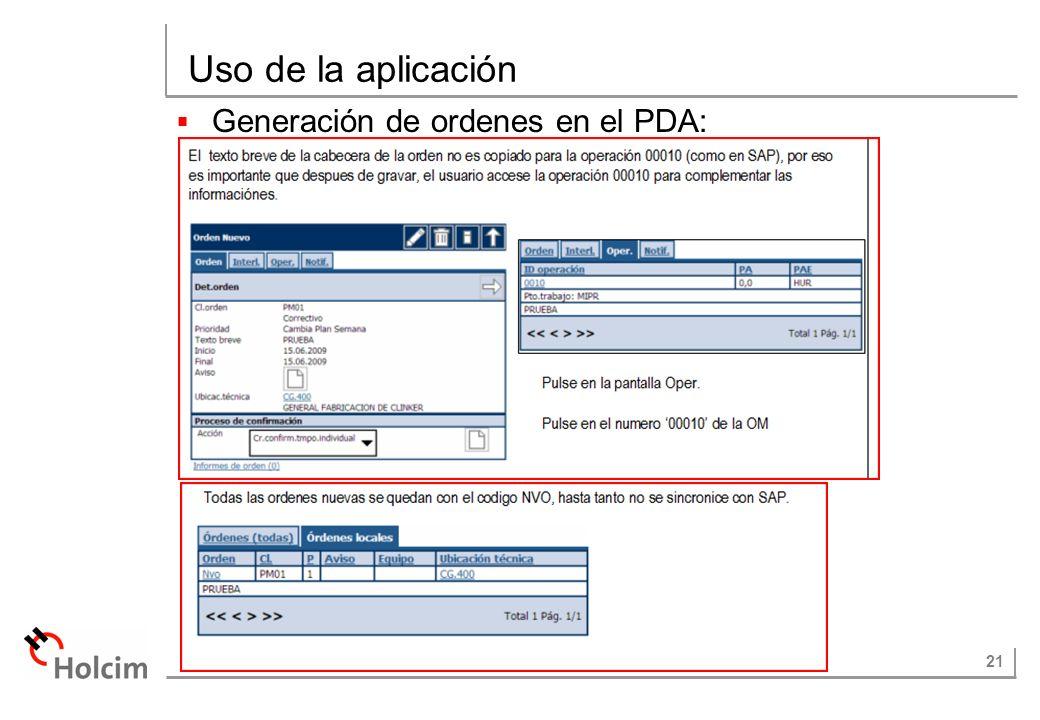 Uso de la aplicación Generación de ordenes en el PDA: