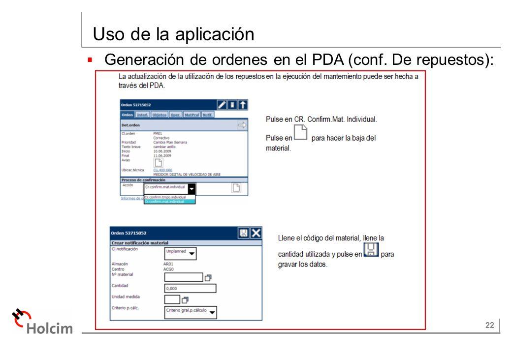 Uso de la aplicación Generación de ordenes en el PDA (conf. De repuestos):