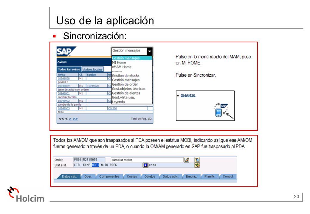 Uso de la aplicación Sincronización: