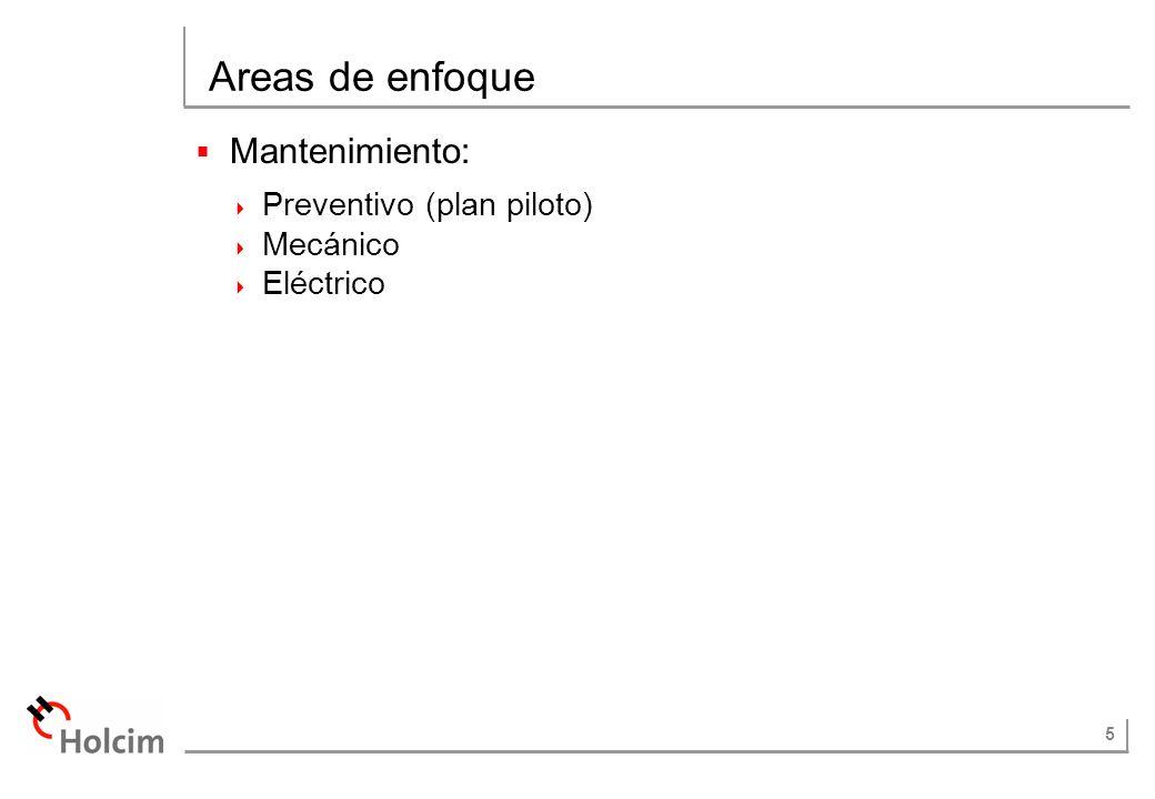 Areas de enfoque Mantenimiento: Preventivo (plan piloto) Mecánico