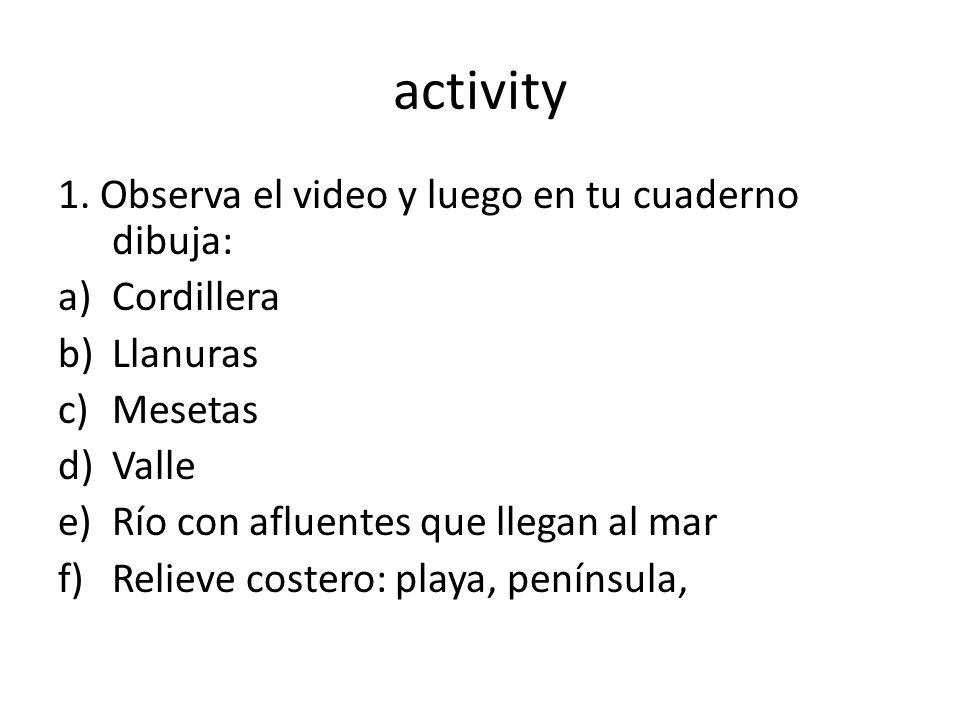 activity 1. Observa el video y luego en tu cuaderno dibuja: Cordillera