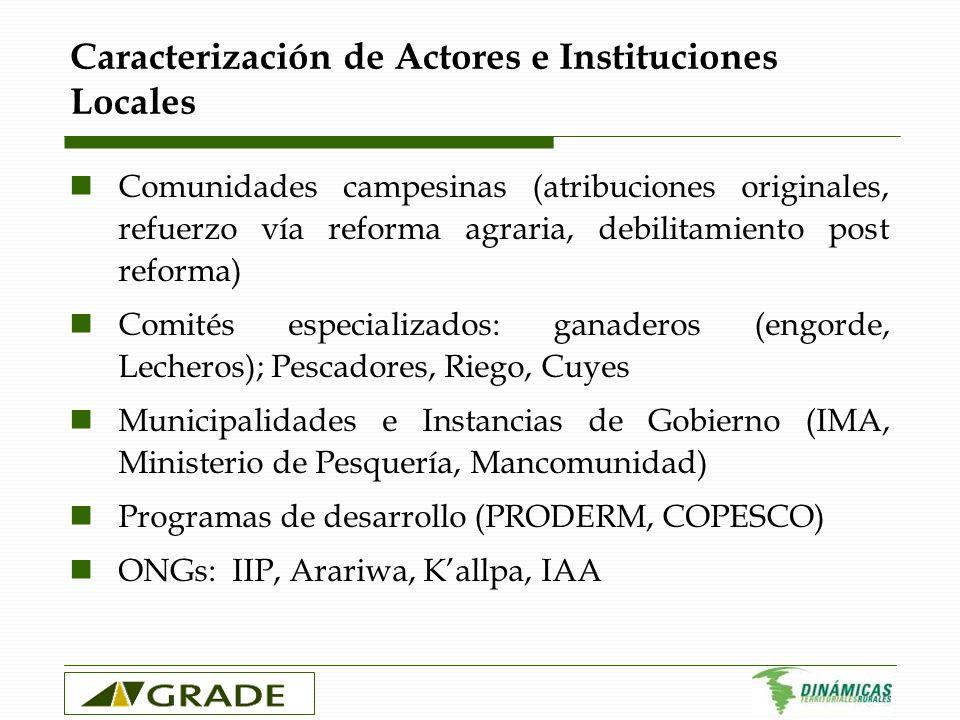Caracterización de Actores e Instituciones Locales