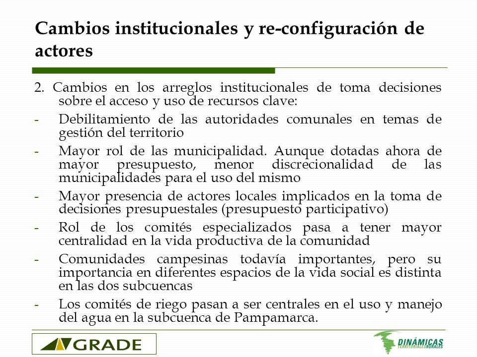 Cambios institucionales y re-configuración de actores