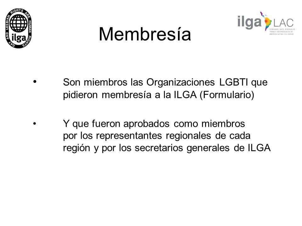 Membresía Son miembros las Organizaciones LGBTI que pidieron membresía a la ILGA (Formulario)