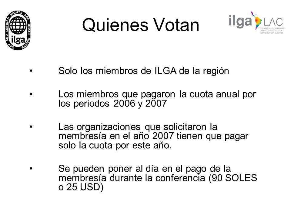 Quienes Votan Solo los miembros de ILGA de la región
