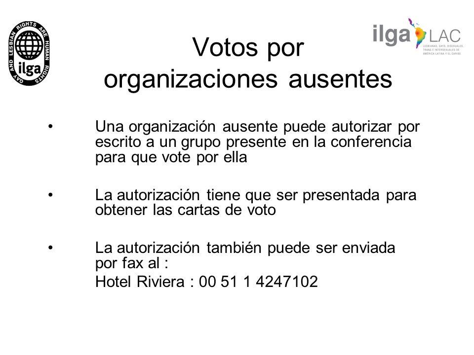 Votos por organizaciones ausentes