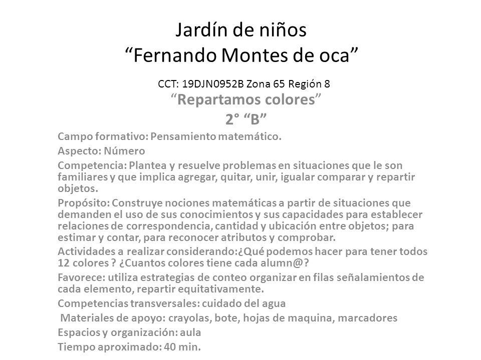 Jardín de niños Fernando Montes de oca CCT: 19DJN0952B Zona 65 Región 8