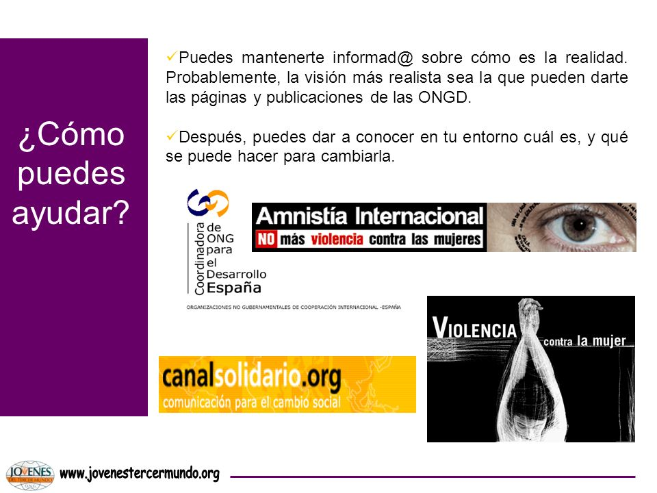 ¿Cómo puedes ayudar www.jovenestercermundo.org