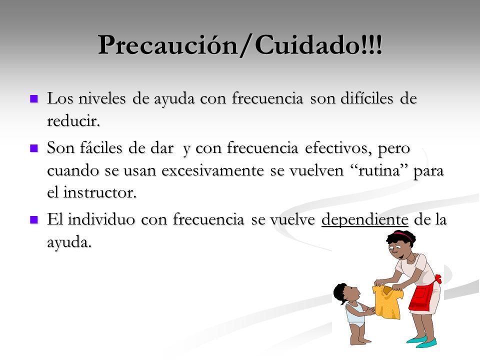 Precaución/Cuidado!!!Los niveles de ayuda con frecuencia son difíciles de reducir.