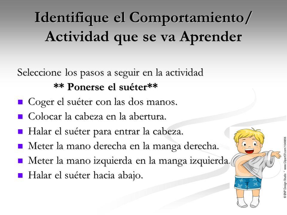 Identifique el Comportamiento/ Actividad que se va Aprender