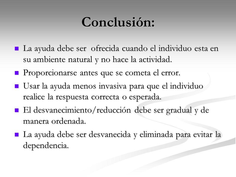 Conclusión:La ayuda debe ser ofrecida cuando el individuo esta en su ambiente natural y no hace la actividad.