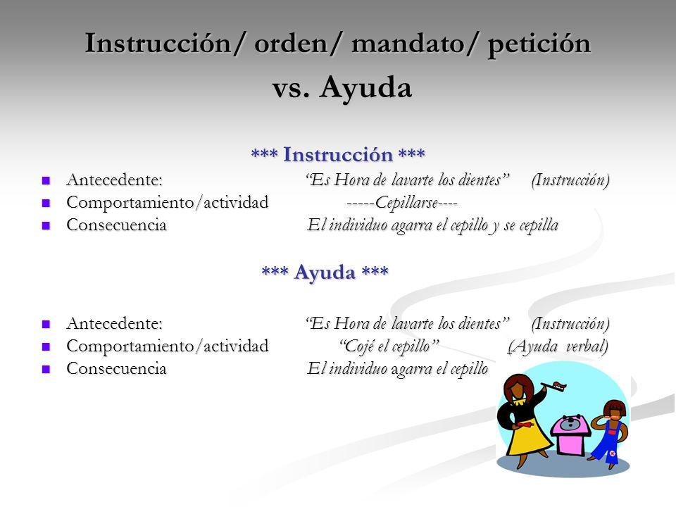 Instrucción/ orden/ mandato/ petición vs. Ayuda
